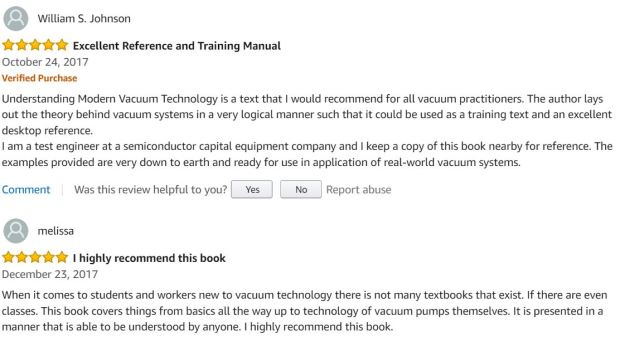 Comments about Understanding Modern Vacuum Technology on Amazon