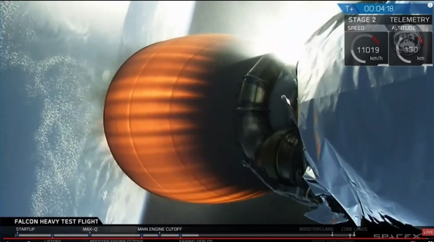 MVac-D SpaceX Merlin engine pushing the Falcon Heavy payload into orbit.