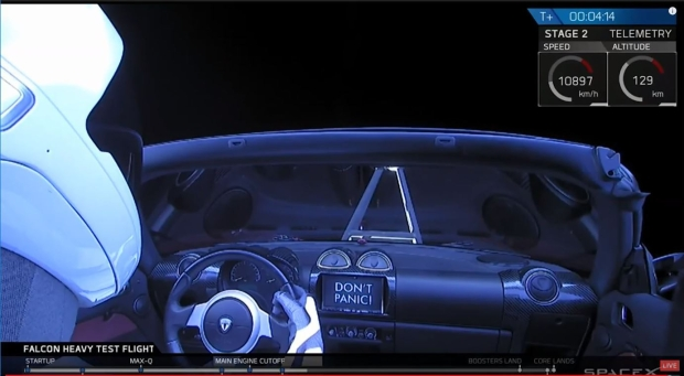 Passenger seat view from the Tesla Roadster launched on the Falcon Heavy rocket.