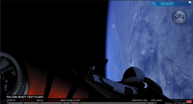 Actual view of the Tesla Roadster and Starman dummy headed for their new Mars crossing orbit around the sun.
